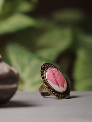 White Enameled Sundried Bougainvillea Brass Alloy Adjustable Ring