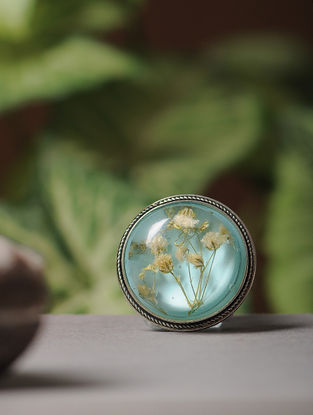 Blue Enameled Sundried Dandelions Brass Alloy Brooch