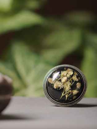 Black Enameled Sundried Dandelions Brass Alloy Brooch