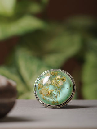 Blue Enameled Babys Breath Brass Alloy Brooch
