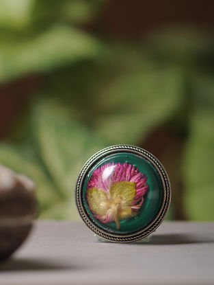 Green Enameled Sundried Bachelor Button Brass Alloy Brooch