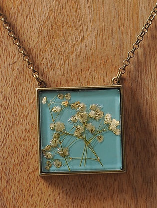 Blue Enameled Sundried Dandelions Brass Alloy Necklace