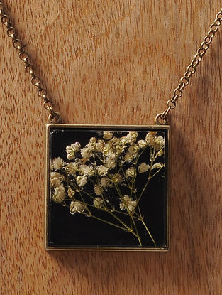 Black Enameled Sundried Babys breath Brass Alloy Necklace
