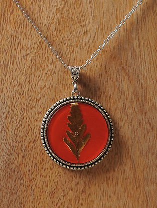 Red Enameled Sundried Pine Leaf Brass Alloy Necklace