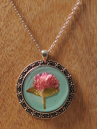 Blue Enameled Sundried Rose Brass Alloy Necklace