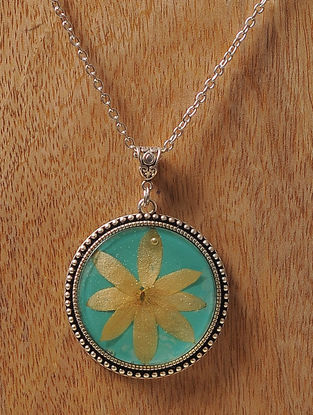 Blue Enameled Sundried Bombay Jasmine Brass Alloy Necklace