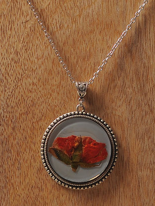 Grey Enameled Sundried Rose Brass Alloy Necklace