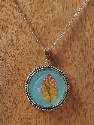 Blue Enameled Sundried Bougainvillea Brass Alloy Necklace