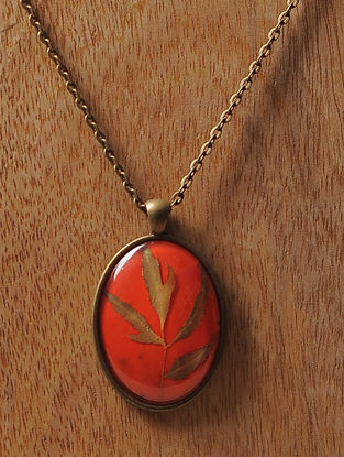 Orange Enameled Sundried Pine Leaf Brass Alloy Necklace