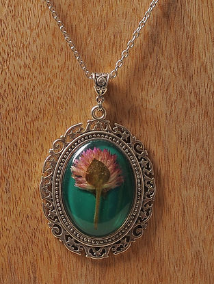 Green Enameled Sundried Bachelor Button Brass Alloy Necklace