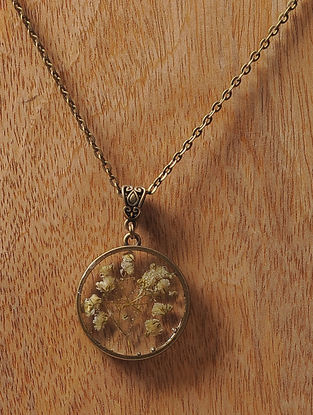 White Sundried Dandelions Brass Alloy Necklace