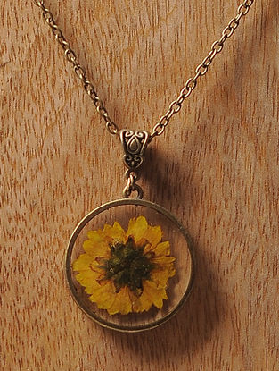 Yellow Sundried Daisy Brass Alloy Necklace
