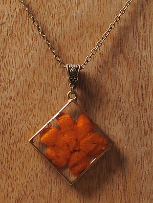 Orange Sundried Copper Pod Brass Alloy Necklace