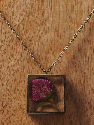Purple Sundried Bachelor Button Brass Alloy Necklace