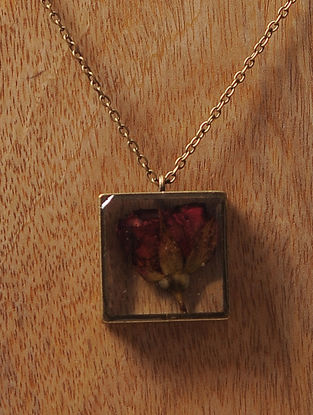 Pink Sundried Rose Brass Alloy Necklace