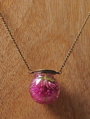 Pink Sundried Bachelor Button Brass Alloy Necklace