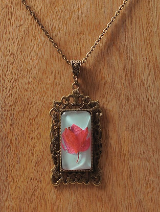 Green Enameled Sundried Bougainvillea Brass Alloy Necklace