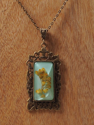 Blue Enameled Sundried Babys Breath Brass Alloy Necklace