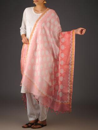Pink-Ivory Kota Doria Lotus Block-Printed Dupatta