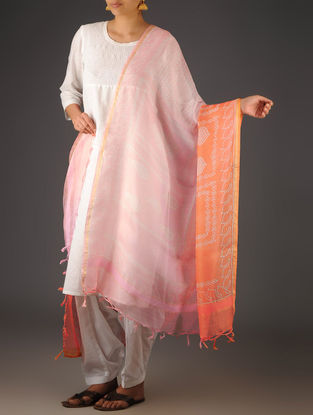Orange-Pink Kota Doria Abstract Block-Printed Dupatta