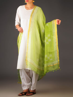 Lime Green Kota Doria Abstract Block-Printed Dupatta