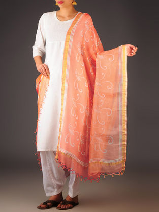 Orange-Ivory Kota Doria Abstract Block-Printed Dupatta