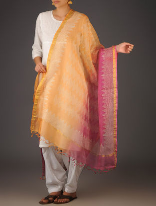 Fuschia-Orange Kota Doria Geometric Block-Printed Dupatta