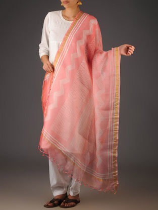Pink-Ivory Kota Doria Abstract Block-Printed Dupatta