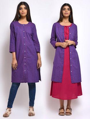 Purple Front-open Mangalgiri Cotton Kurta cum Jacket