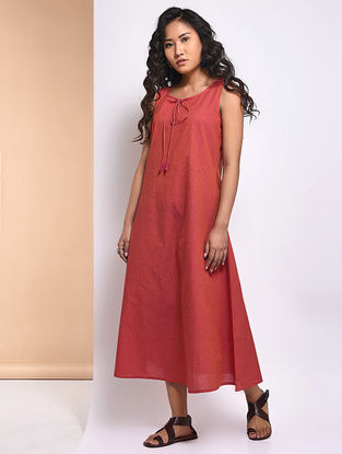 Orange Mangalgiri Cotton Dress