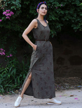 Grey-Maroon Printed Mangalgiri Cotton Dress with Smocking