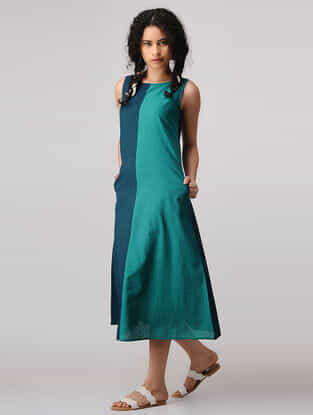 Teal-Green Mangalgiri Cotton Dress with Pockets