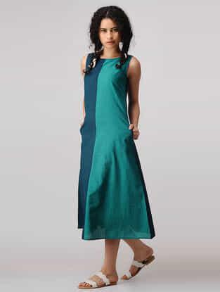 Teal-Green Mangalgiri Cotton Dress with Pockets