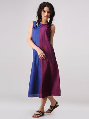 Blue-Purple Mangalgiri Cotton Dress with Pockets