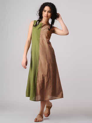 Green-Brown Mangalgiri Cotton Dress with Pockets