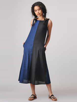 Black-Blue Mangalgiri Cotton Dress with Pockets