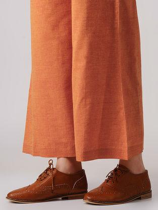 Orange Elasticated-waist Mangalgiri Cotton Palazzos
