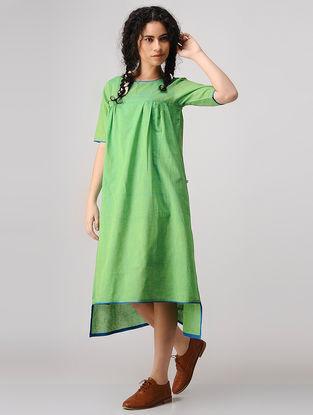 Green Mangalgiri Cotton Dress with Gathers