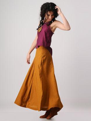 Mustard Mangalgiri Cotton Paneled Skirt