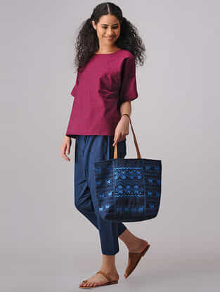 Blue Elasticated-waist Mangalgiri Cotton Pants