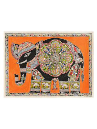 Elephant Madhubani Painting - 22.5in x 30.2in