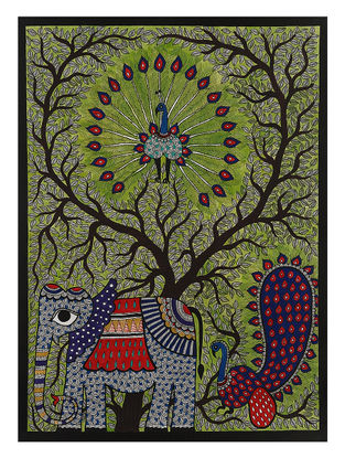 Tree of Life with Elephant and Peacocks Madhubani Painting - 29.7in x 22in