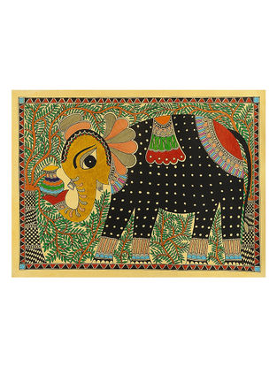 Elephant with a Pot Madhubani Painting - 22in x 30in