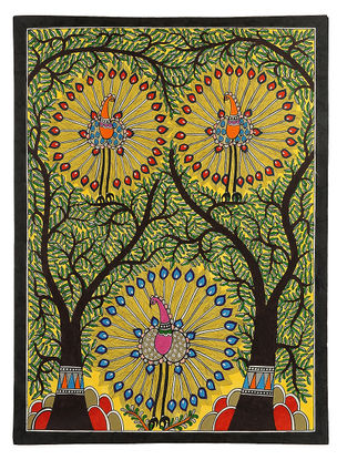 Trees of Life with Peacocks Madhubani Painting - 30in x 22in