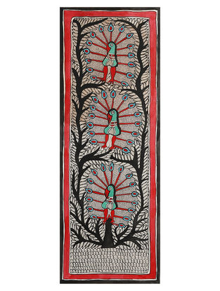 Godhna Style Peacocks and Tree Madhubani Painting - 30in x 11in
