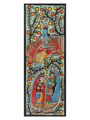 Krishnaji and Gopiyaan Madhubani Painting - 30in x 11in