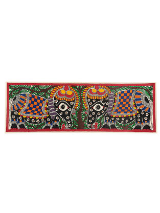 Elephants Madhubani Painting - 7.5in x 22in