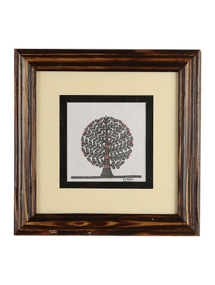 Framed Tree of Life Madhubani Painting - 8.1in x 8.1in