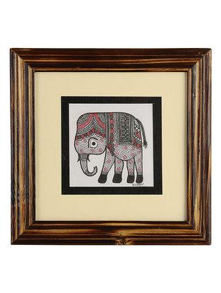 Framed Elephant Madhubani Painting - 8.1in x 8.1in