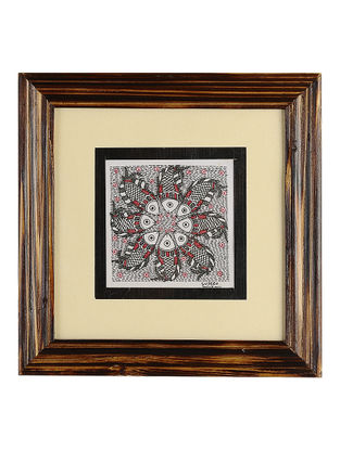 Framed Fish Madhubani Painting - 8.1in x 8.1in